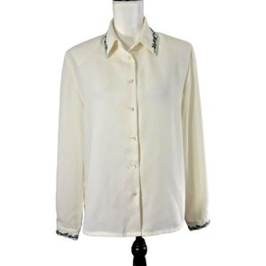 4/$25 Koret Womens 8 Blouse Creme Green Embroidery